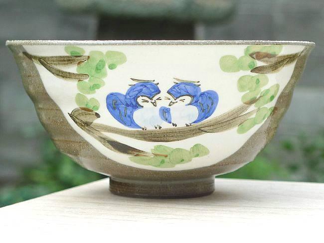 【京焼 清水焼】粉引ふくろうご飯茶碗  嘉峰