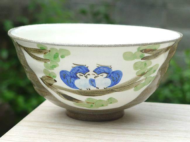 【京焼 清水焼】粉引ふくろう夫婦茶碗  嘉峰