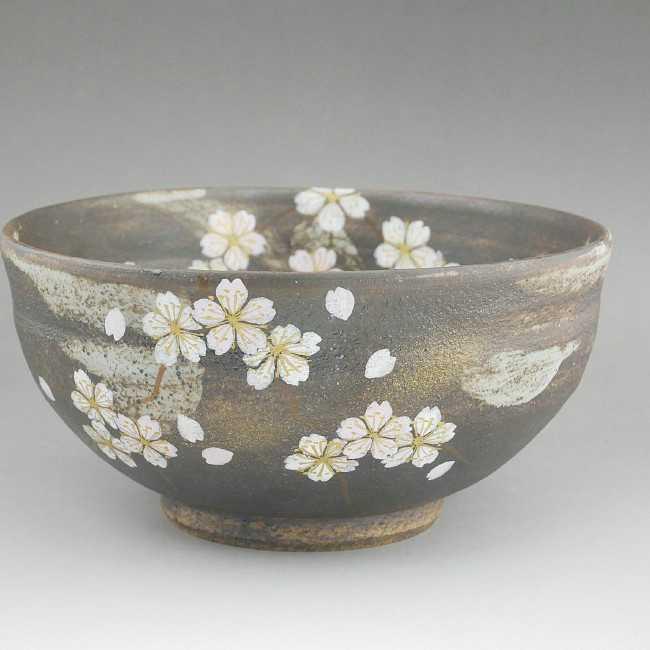 清水焼花かがり抹茶茶碗 八幡