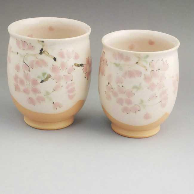 京焼清水焼 色絵桜夫婦湯飲み 陶仙