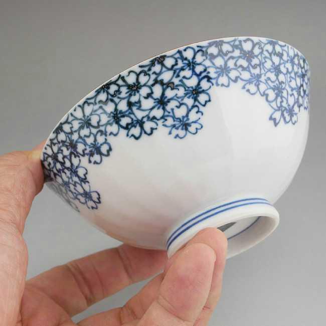 【京焼清水焼】染付桜つめご飯茶碗