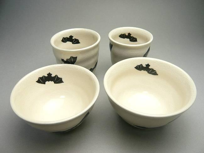 清水焼京焼の幸せを運ぶコウモリの湯呑み