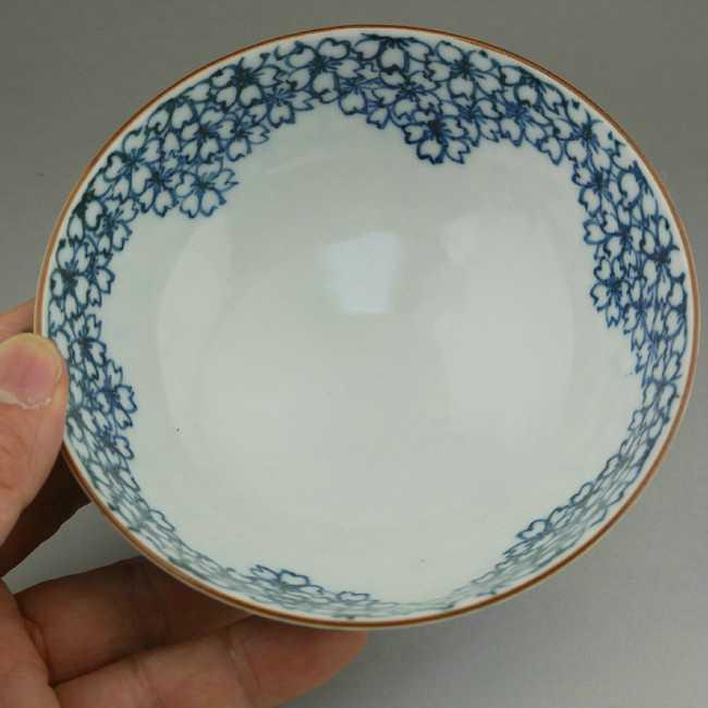【京焼清水焼】染付桜詰ご飯茶碗