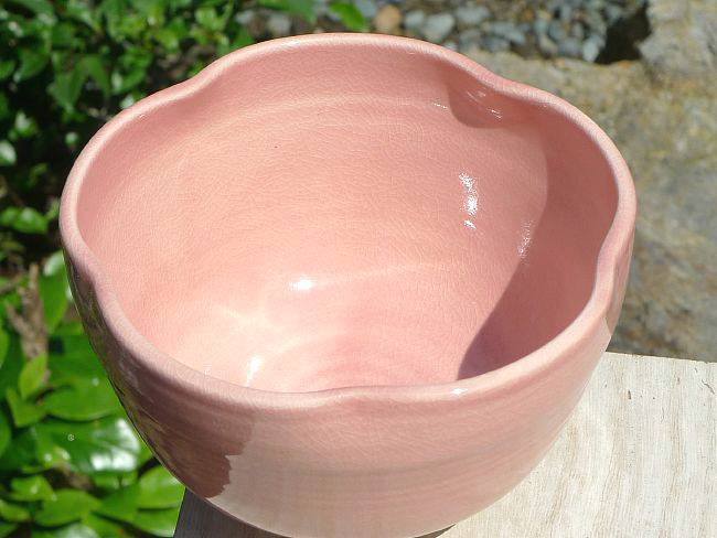 【京焼清水焼】ピンク花形抹茶碗 剛