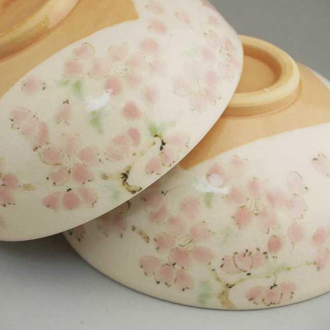 京焼清水焼色絵桜ご飯茶碗 陶仙