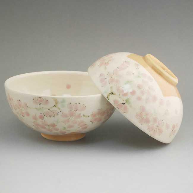 京焼清水焼 色絵桜ご飯茶碗 陶仙