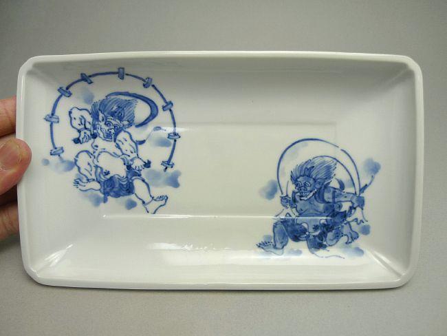 【京焼 清水焼】風神雷神角皿