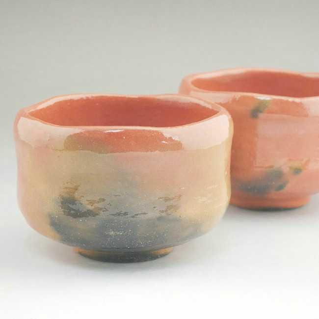 赤楽野立茶碗