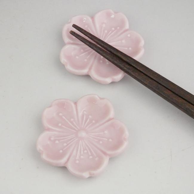 【京焼 清水焼】染付桜箸置き(角)