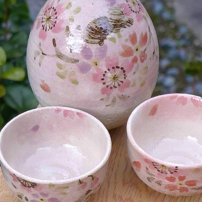 【京焼 清水焼】桜酒器揃え瑞光