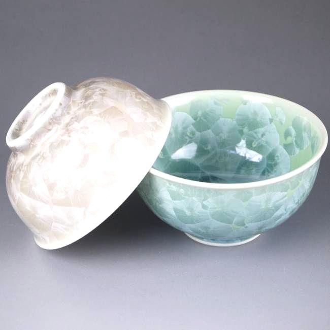 花結晶夫婦茶碗 緑茶 陶葊