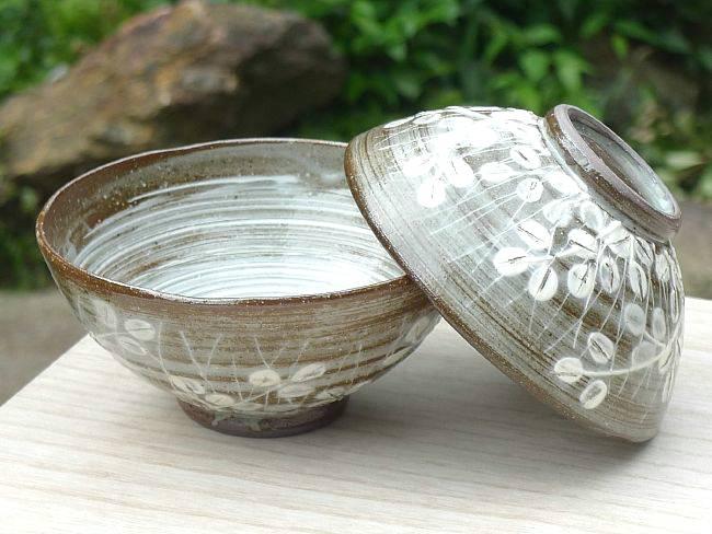 萩がさねご飯茶碗