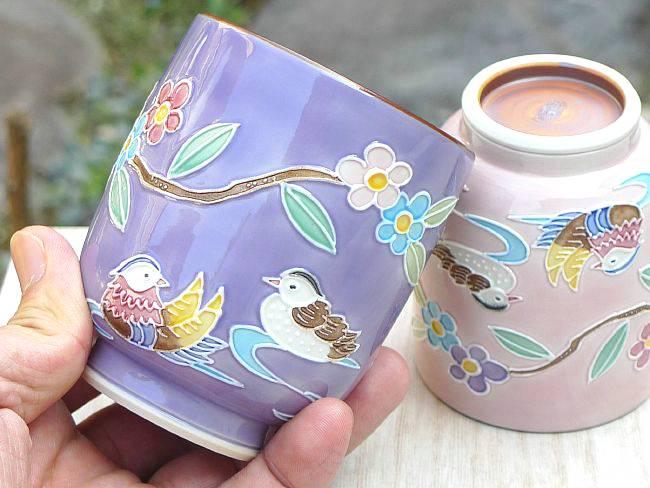 【京焼清水焼】紫交趾六瓢ゆのみ 昇峰