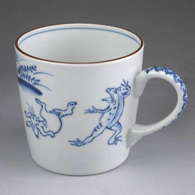 清水焼京焼、高山寺鳥獣人物戯画石瓶