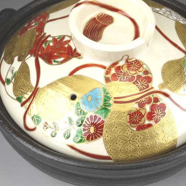 【京焼 清水焼】土鍋 椿絵 瑞光
