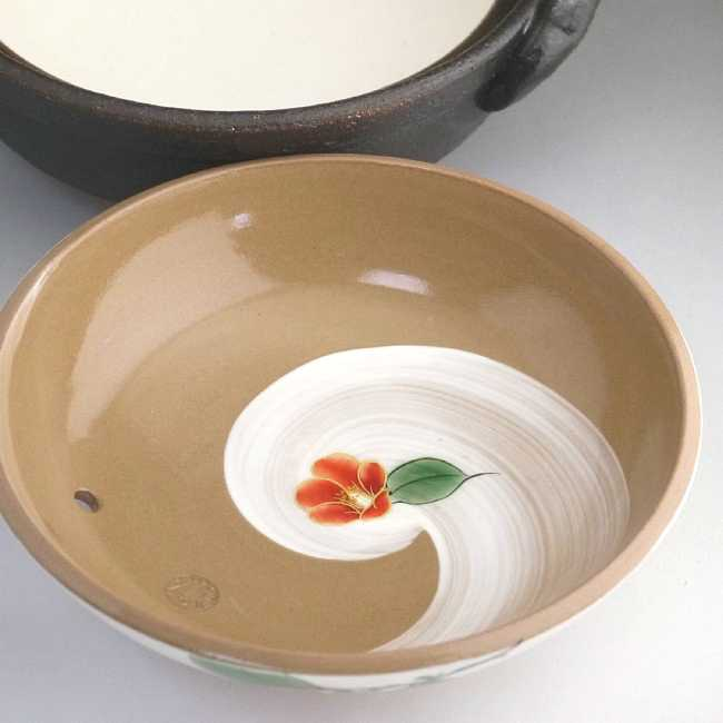 【京焼 清水焼】土鍋 つばき絵 瑞光