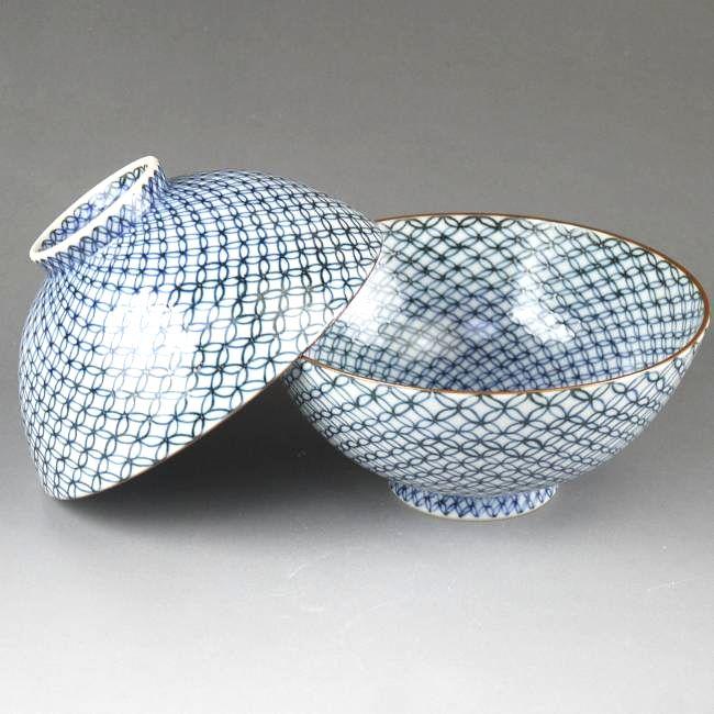 染付雲錦詰ご飯茶碗 【京焼 清水焼】