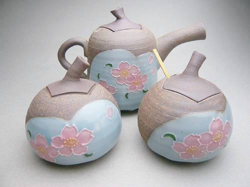 【京焼 清水焼】食卓小物三点セット 桜