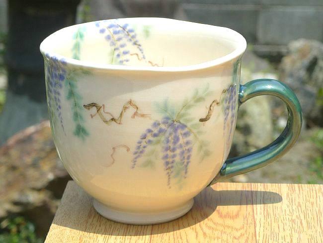 【京焼清水焼】半磁器マグカップ蔦の葉