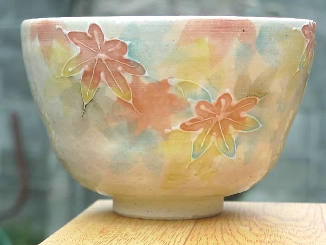 【京焼 清水焼】抹茶碗梅の花