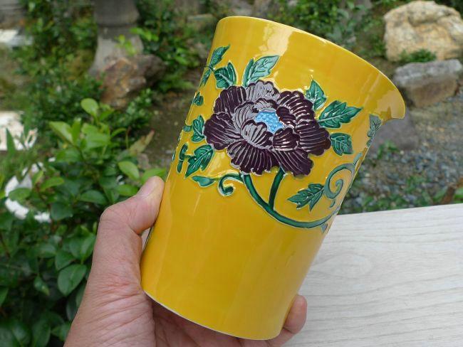 【京焼 清水焼】黄交趾宝瓶急須