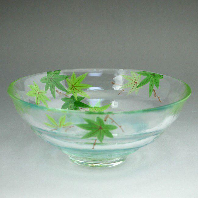 京絵付け青楓ガラス平茶碗