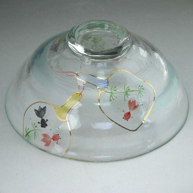 京絵付 ガラス平茶碗