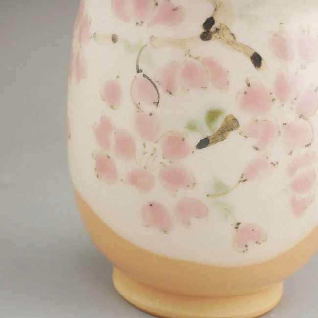 京焼清水焼色絵桜湯呑 陶仙