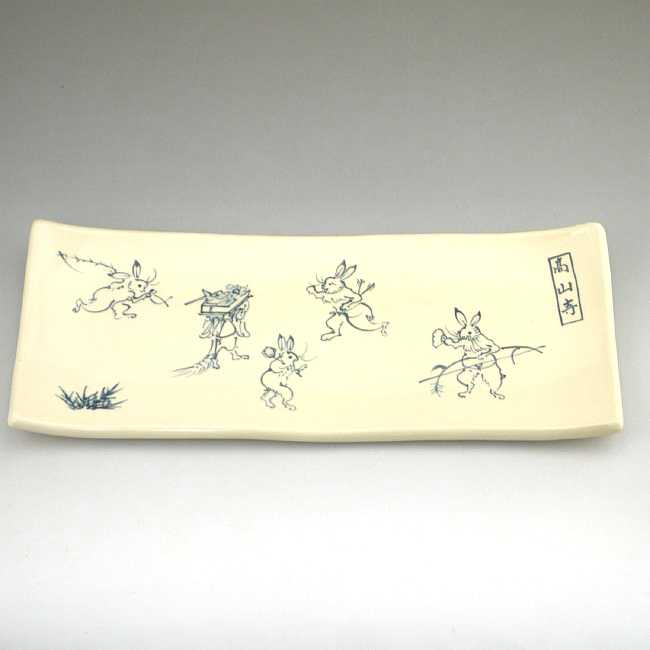 【京焼 清水焼】鳥獣戯画角皿