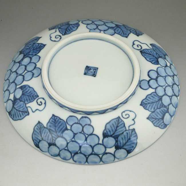 加藤芳山作染付葡萄絵菓子鉢