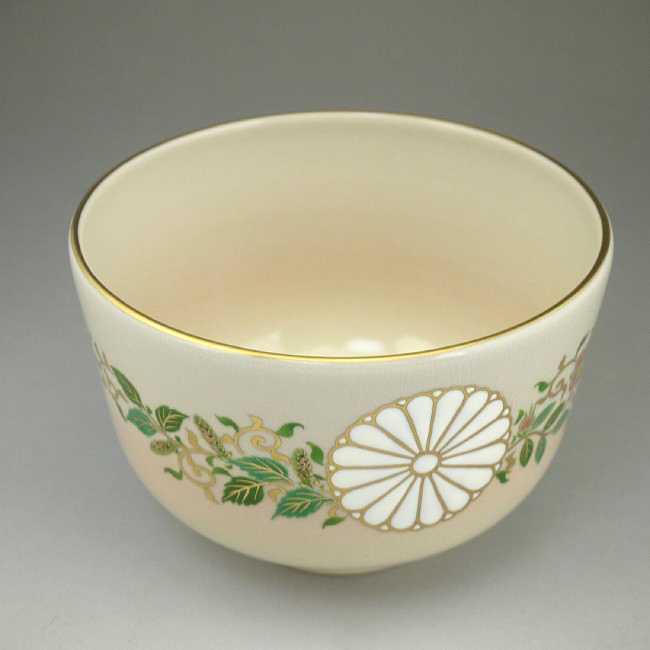 天皇陛下即位記念 菊桐鳳凰絵(内)抹茶碗 陶楽