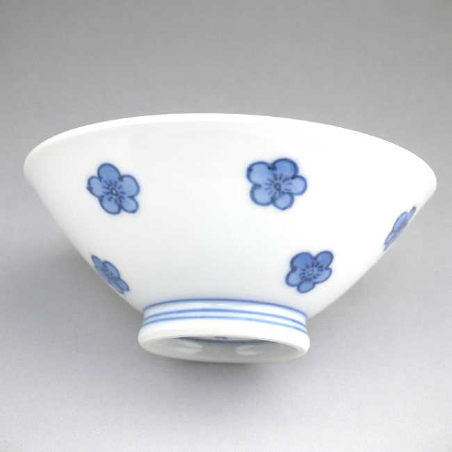 【京焼清水焼】染付ダミ梅ご飯茶碗