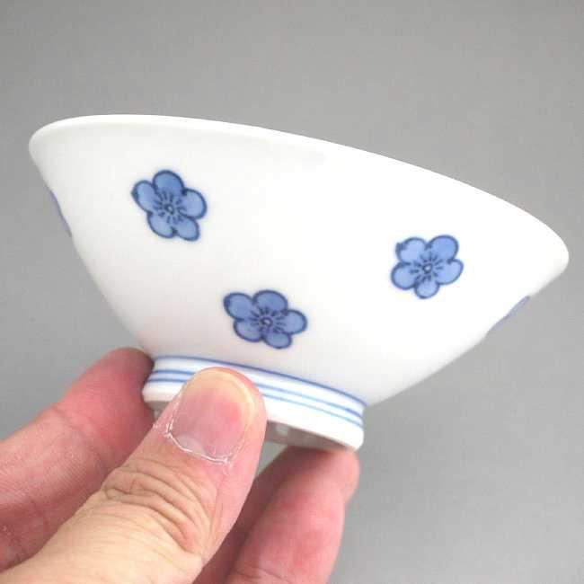【京焼清水焼】染付梅の花ご飯茶碗