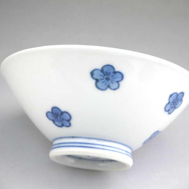【京焼清水焼】染付だみ梅ご飯茶碗