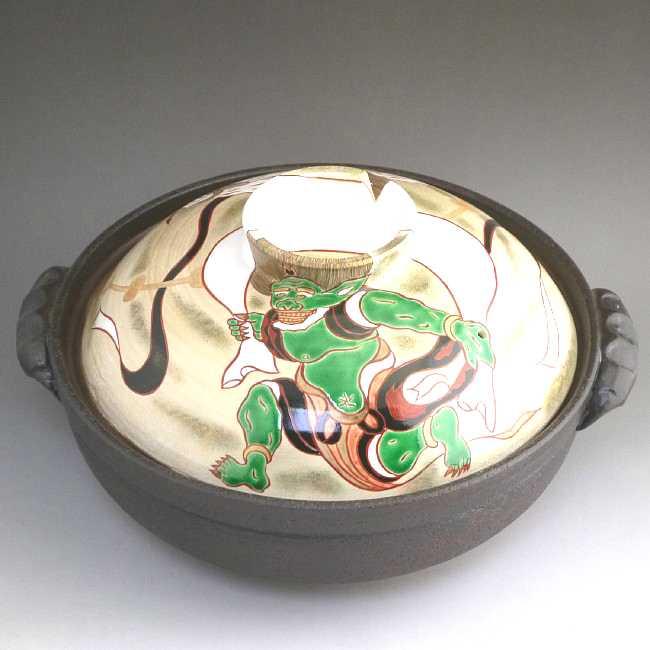岡山陶仙作風神雷神絵抹茶碗
