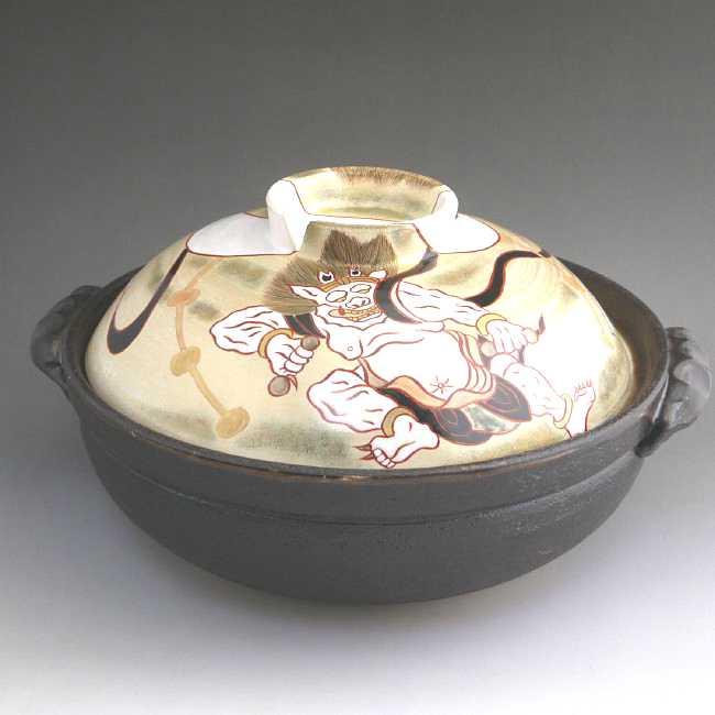 岡山陶仙作風神雷神絵抹茶碗の高台