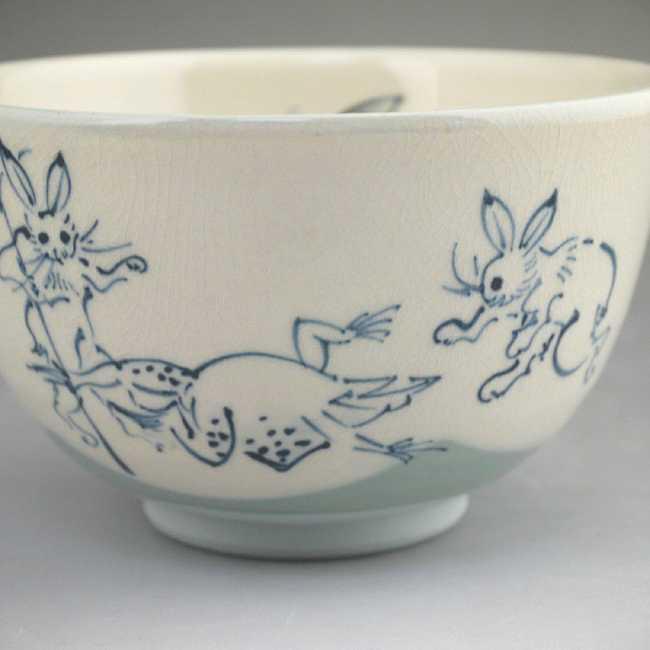 京焼清水焼鳥獣戯画 抹茶碗