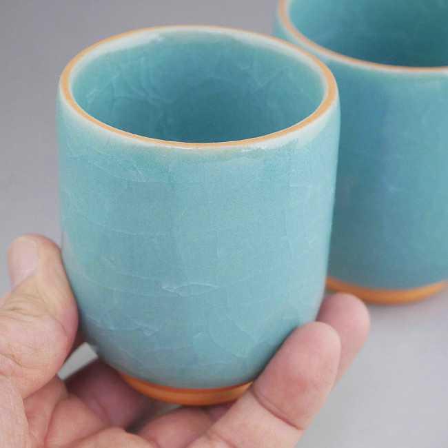 清水焼京焼の青磁湯呑み