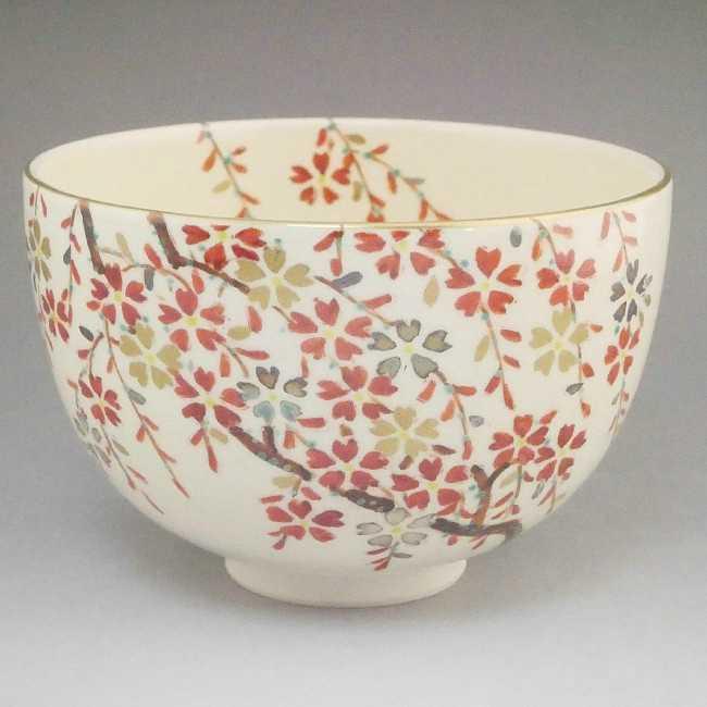 【京焼 清水焼】抹茶碗 流水桜