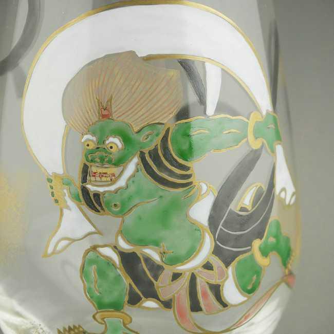 京絵付けガラスタンブラー風神雷神