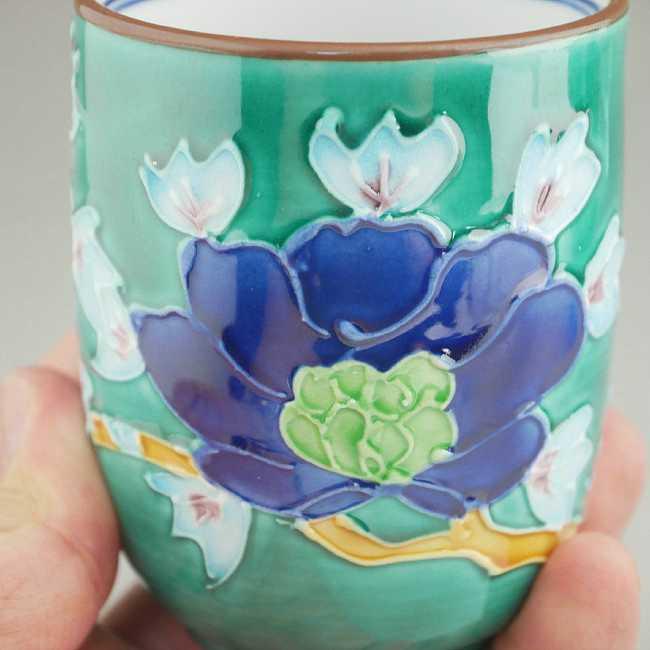 緑交趾牡丹夫婦湯飲み