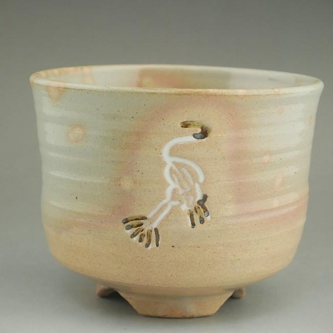 立鶴の筒茶碗