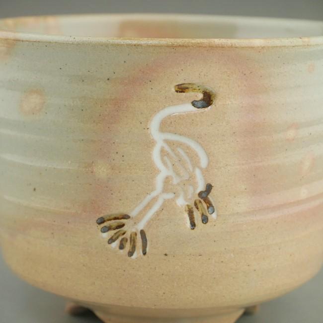 鶴の筒茶碗