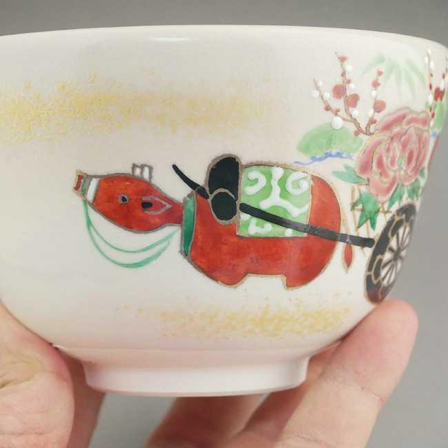 京焼清水焼干支丑花車抹茶茶碗 香菊