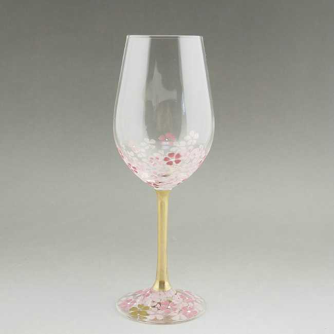 京絵付ワイングラス 桜