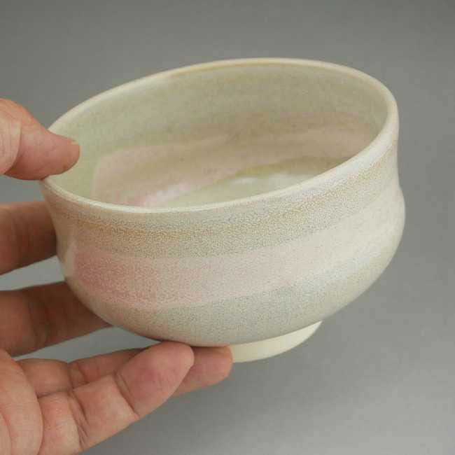 京焼清水焼 ピンク刷毛目抹茶碗