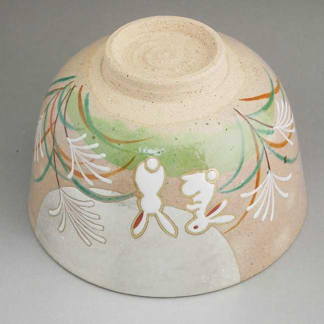 清水焼京焼の窯元小倉亨作抹茶碗 兎と満月