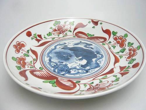 【京焼 清水焼】赤絵玉取獅子皿 8寸