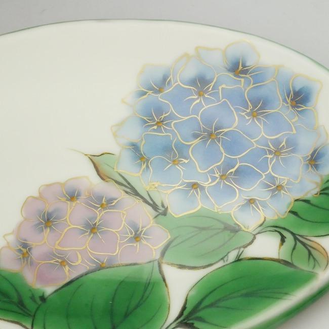 白掛五草花楕円皿