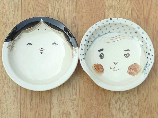 清水焼お福とひょっとこの皿